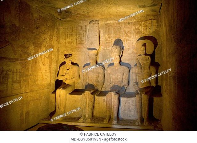 The Temple of Ramesses II - Statues of the four gods: Ptah, Re-Harakhte, Amun-Re, Ramesses II