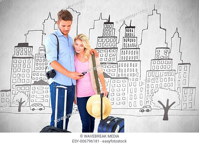 Composite image of attractive young couple ready to go on vacation