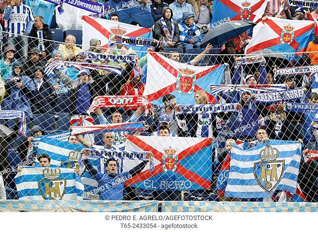 Ponferradina supporters. CD Lugo vs. SD Ponferradina (Segunda División), Estadio Angel Carro, Lugo, Galicia, Spain, 08/06/2013