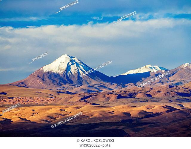 View over Atacama Desert towards the Cerro Colorado, San Pedro de Atacama, Antofagasta Region, Chile, South America
