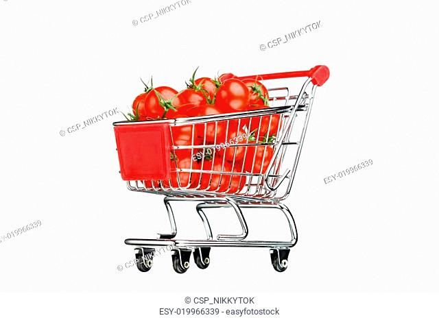 shopping cart with tomatoes, isolated on white