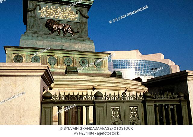 Bastille Opera and Column of July. Bastille Square. Paris. France