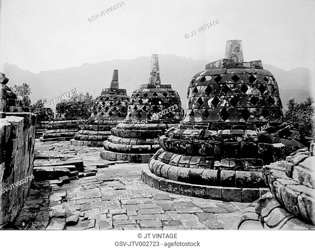 Perforated Bells of Stupas on First Terrace, Borobudur Temple, Java, Indonesia, Circa 1900