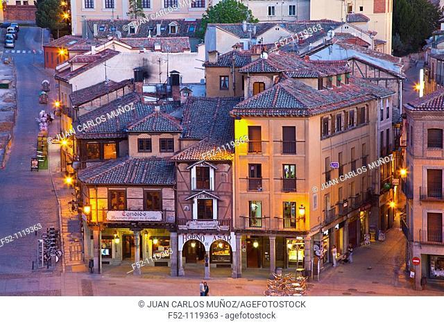 Square by the Roman Aqueduct, Segovia, Castilla-Leon, Spain
