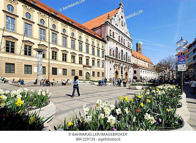 Old University and church of the Jesuit order St Michael Munich Muenchen Upper Bavaria Germany