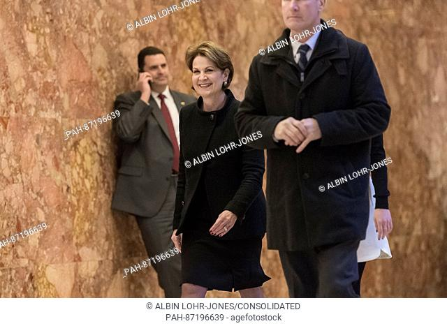 Marillyn Hewson (M), CEO of Lockheed Martin, arrives for a meeting with President-elect Donald Trump at Trump Tower in New York, NY, USA on January 13, 2017