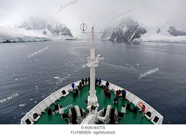 View from the bridge of the Akademik Sergey Vavilov in the passage through the Lemaire Channel in Fog, Antarctic