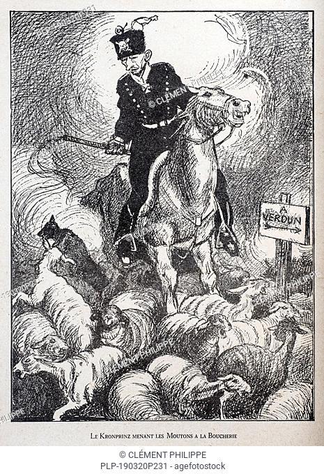 WW1 caricature by illustrator Rata Langa showing German Prussian Crown Prince / Kronprinz Wilhelm von Preußen driving sheep to the slaughterhouse