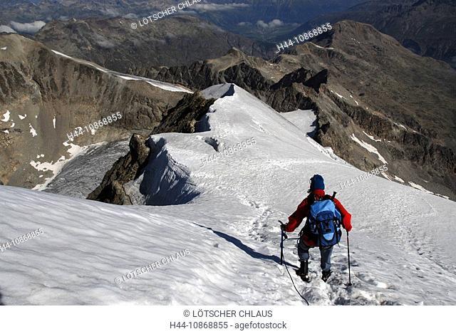 Switzerland, Graubünden, Grisons, mountaineer, descent, rope, Piz Morteratsch, glacier, Engadin, mountains, Alp, alpine, Alps
