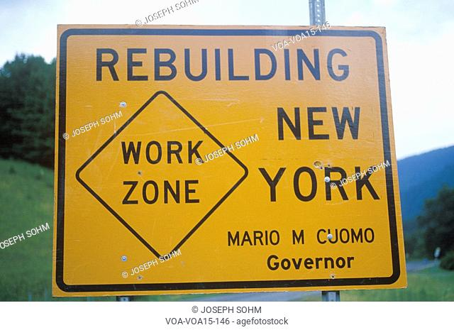 A construction sign in New York
