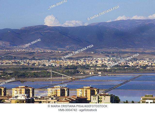View of Cagliari, Italy, and nearby villages with the salt flats in the foreground