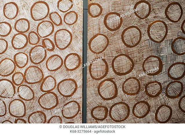Circles, 2014 by artist Nyapanyapa Yunupingu, Marking the Infinite, Contemporary Women Artists from Aboriginal Australia