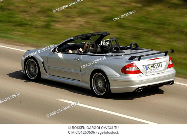Mercedes CLK German Touring Master Championship AMG, model year 2006-, silver, driving, diagonal from the back, rear view, country road, open top
