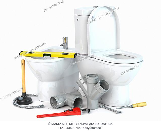 Plumbing repair service. Bowl and bidet with plumbing tools for a plumber and pvc plastic tubes. 3d illustration