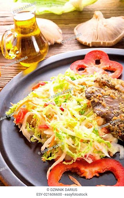 baked oyster mushrooms with fresh savoy cabbage salad