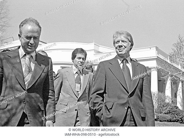 US President Jimmy Carter and Israeli Prime Minister Yitzhak Rabin, at the White House 1977