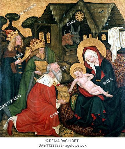 Adoration of the Magi originating from the St James Altarpiece in Brno, ca 1440, Bohemian painting.  Prague, Národní Galeri V Praze (National Fine Arts Museum)