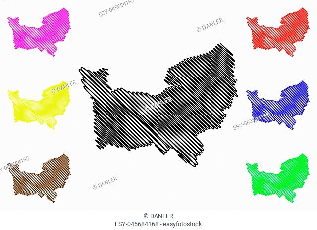 Normandy (France, administrative region) map vector illustration, scribble sketch Normandy map