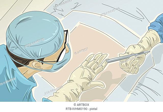 Person's hand passing a scalpel to a male surgeon