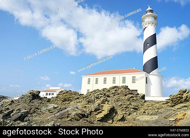 Favarich Lighthouse, Natural Park of the Albufera del Grao, Menorca, Balearic Islands, Spain