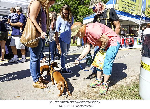 Florida, Micanopy, Fall Harvest Festival, annual small town community event, booths stalls vendors buying selling, woman, dog dogs, pet, greeting, leash