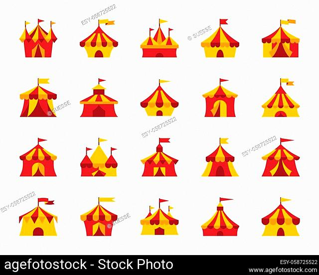 Circus tent flat icons set. Web sign kit of carnival. Cirque canopy pictogram collection includes marquee, striped border, awning