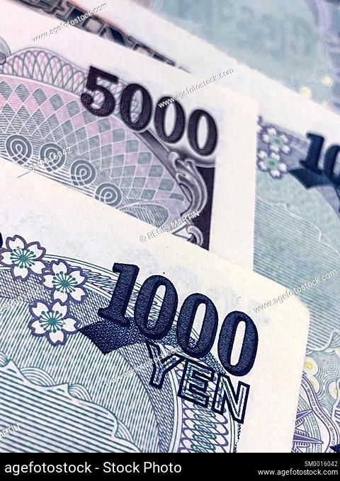 Close up of Japanese bank notes, the Japanese currency is called the Yen
