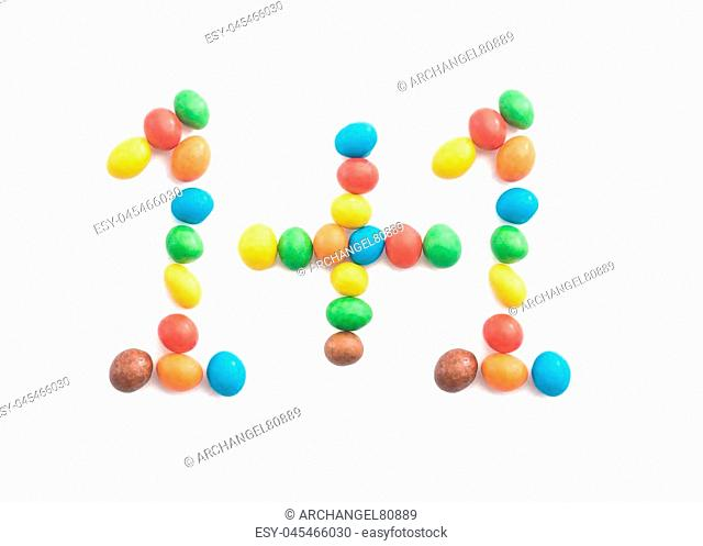 11 of multicolored candies isolated on white background for any purpose