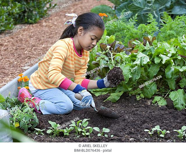 African girl planting in garden