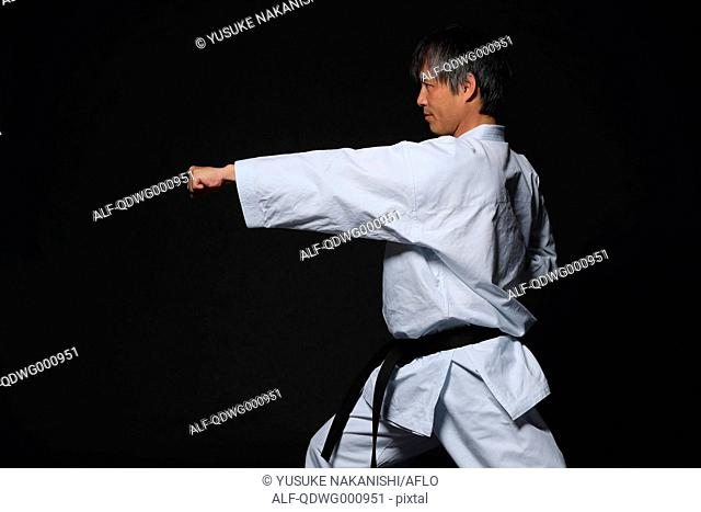 Japanese karate master training