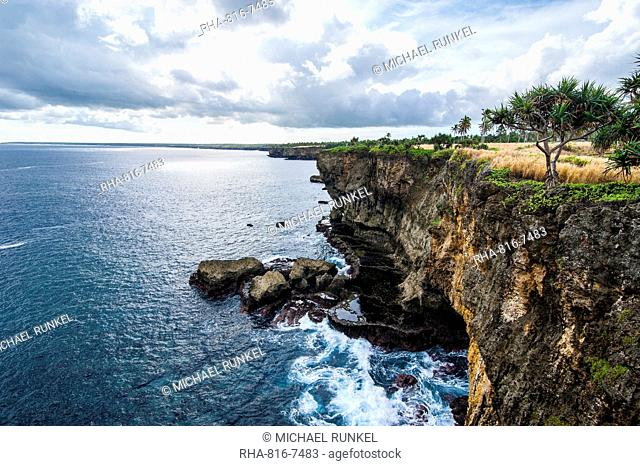 The rocky coast around Ha'ateiho, Tongatapu, Tonga, South Pacific, Pacific