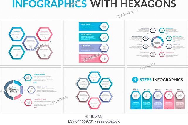 Six infographic templates with hexagons, workflow or process diagrams, vector eps10 illustratopn