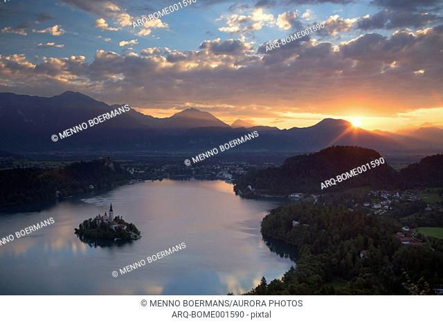 Lake Bled (in Slovene: Blejsko jezero) is a lake in the Julian Alps of the Upper Carniolan region of northwestern Slovenia, where it adjoins the town of Bled