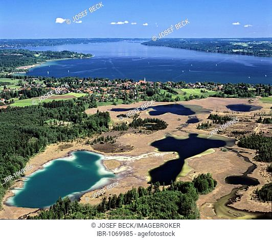 Aerial picture, Seeshaupt on Starnberger Lake, Osterseen Lakes in the front, Lustsee Lake, Groebensee Lake and Gartensee Lake, Upper Bavaria, Germany, Europe