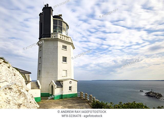 St Anthony Head Lighthouse on Cornwall's Roseland Peninsula captured from near the properties entrance using a wide angle lens