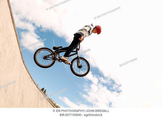 Young boy on a BMX bike