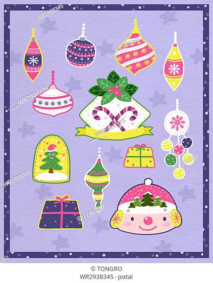 Stickers related to Christmas in illustration