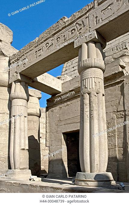 Luxor, Egypt. Temple of Luxor (Ipet resyt): two columns in form of a closed papyrus flower