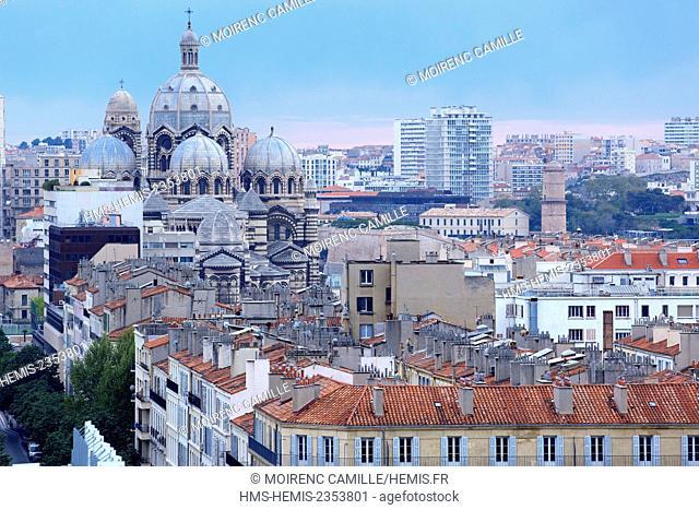 France, Bouches du Rhone , Marseille, Euromediterranee area, La Joliette district Avenue Robert Schuman, the cathedral La Major (nineteenth century) historical...