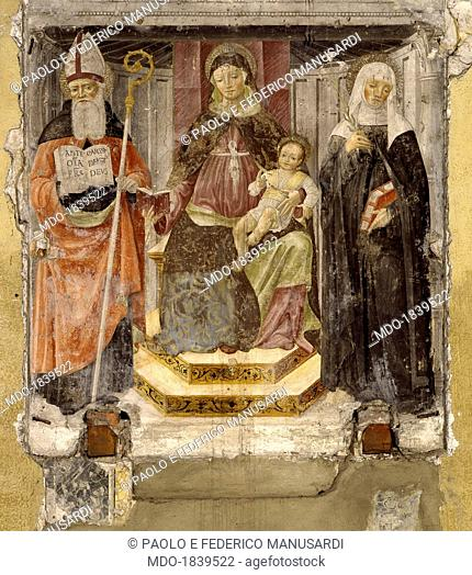Madonna with Child, Saint Augustine and Saint Catherine from Siena, by Matteo della Chiesa, 15th Century, fresco, 175 x 175 cm