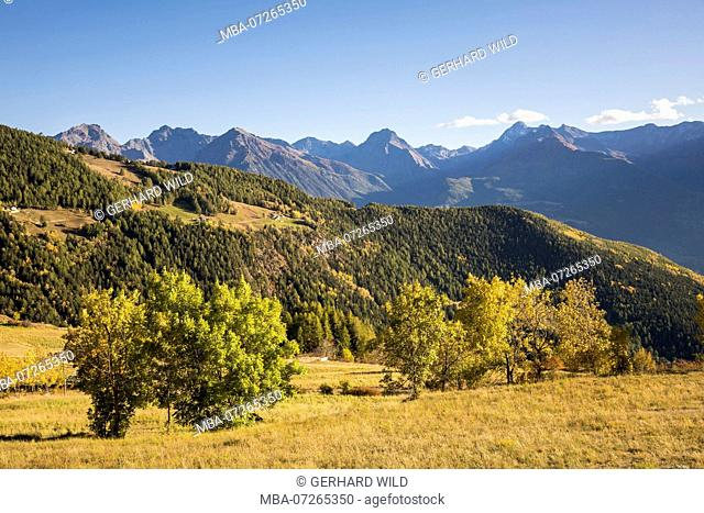 View from the mountain village Lignan on the autumnal landscape, province Aosta, Aosta Valley, Italy