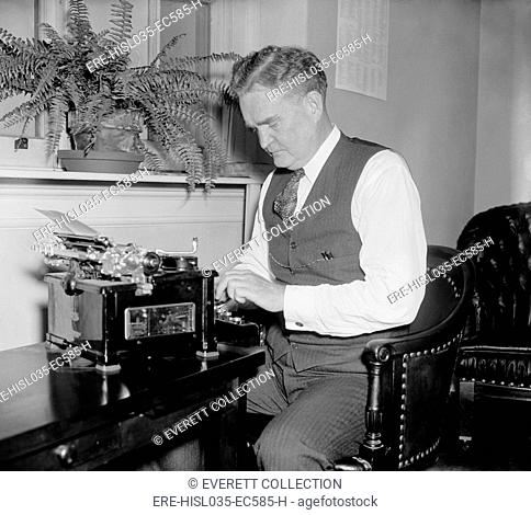 Bruce Barton at a typewriter, possibly when the adman and author served in Congress from 1937 to 1941. (BSLOC-2013-7-117)