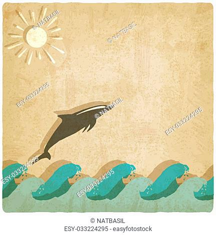 Vintage background with dolphin - vector illustration