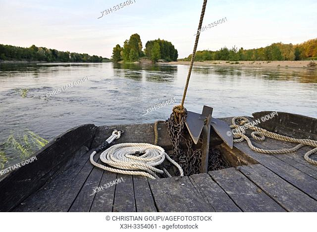 Balade en toue sur la Loire aux environs de Chaumont-sur-Loire, departement Loir-et-Cher, region Centre-Val de Loire, France