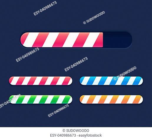 Progress loading bars set, striped interface elements. Bright vector preloaders