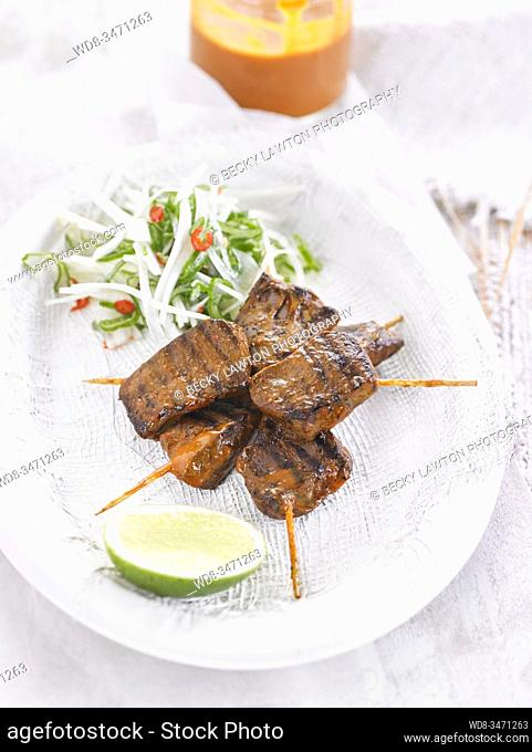 anticuchos de corazon / Beef Heart Skewers