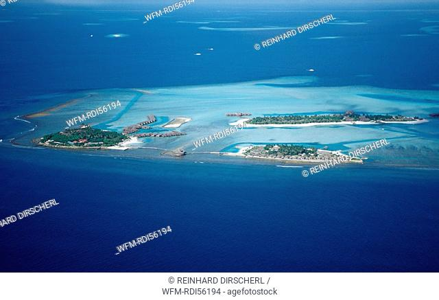 Aerial View of Maldives, Indian Ocean, South-Male Atoll, Dhigufinolhu, Veligandu, Bodu Huraa, Maldives