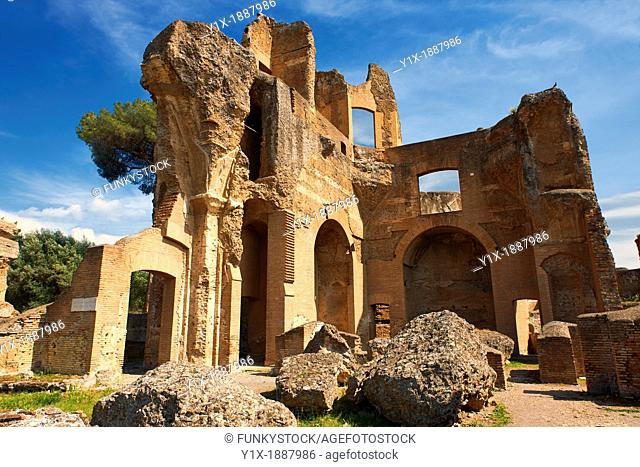 The Greek Library at Hadrian's Villa  Villa Adriana  built during the second and third decades of the 2nd century AD, Tivoli