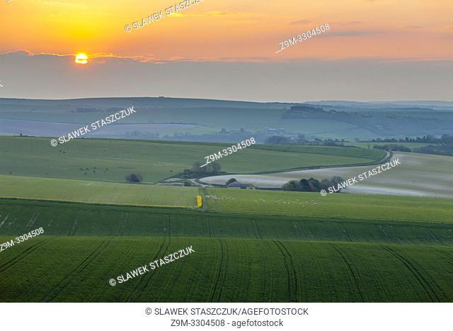 Sunrise in South Downs National Park in West Sussex, England