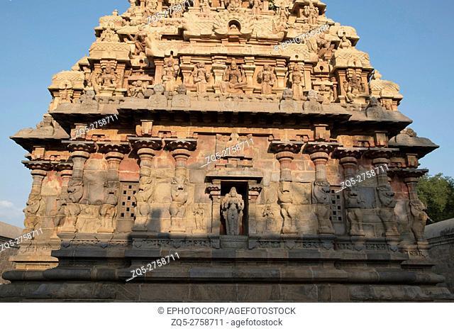 Deivanayaki Amman shrine, adjacent to Airavatesvara Temple, Darasuram, Tamil Nadu, India. View from West